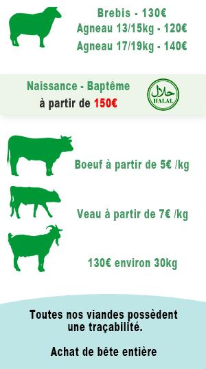Tarif viande halal de mouton, boeuf, veau, chèvre, volaille chez PEVIA